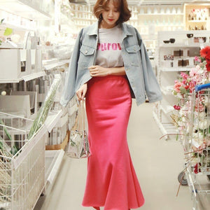 Elegant Midi Satin Skirt