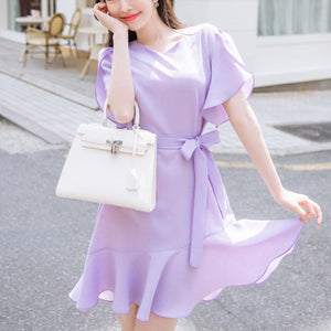 Ribbon Strap Hem Ruffle Dress