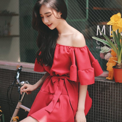 Off Shoulder Ribbon Dress