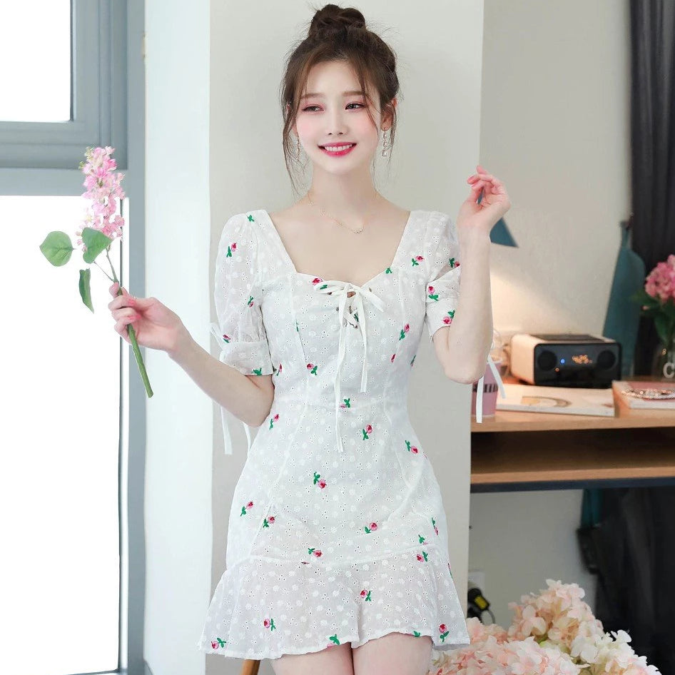 Tie Me Up Flower Embroidery Dress