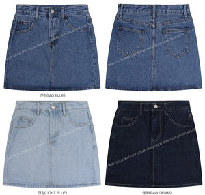 Mini A-line Denim Skirt