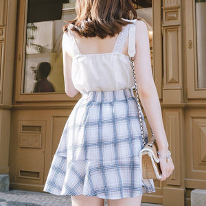 Lace Top and Check Skirt Set