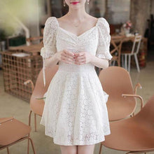 Load image into Gallery viewer, Romantic Puff Sleeve Lace Dress