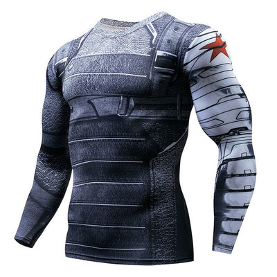 Winter Soldier Long Sleeve Compression Gym Top - Hero Cufflinks