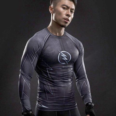 Black Flash Long Sleeve Gym Compression Top - Hero Cufflinks