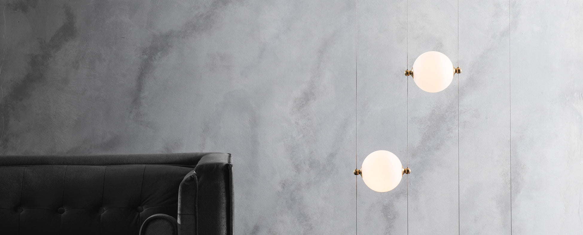 Hubbardton Forge's Abacus Floor Lamp with opal glass globes.