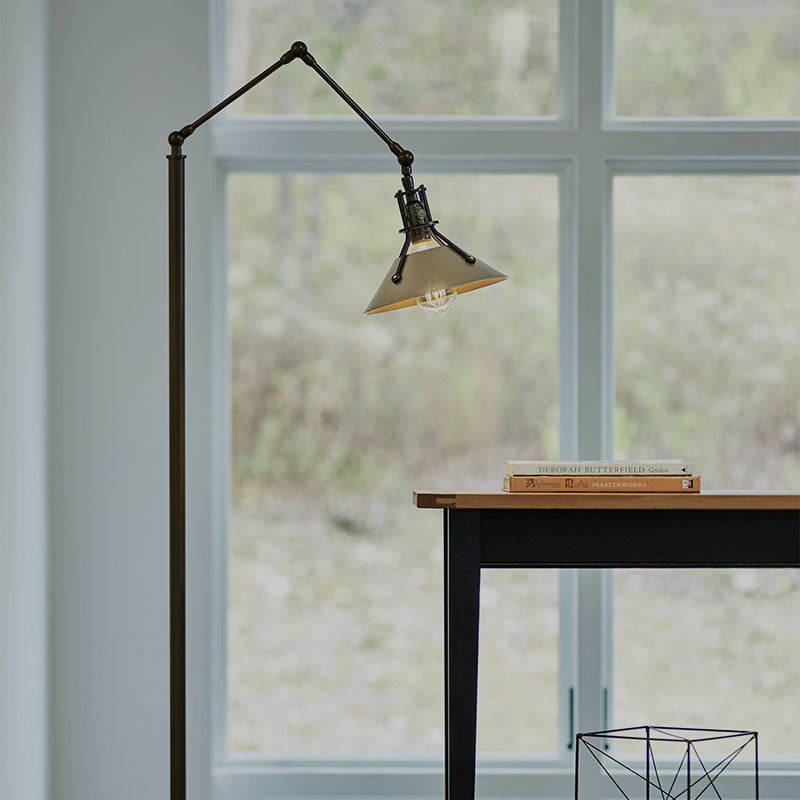 Hubbardton Forge's Henry Floor Lamp provides task lighting with industrial style.