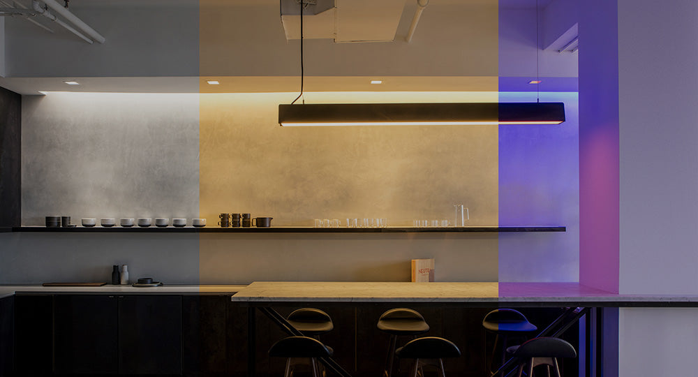 In this kitchen, Ketra's Dynamic Spectrum lighting allows you to tune the color temperature and color of the light.