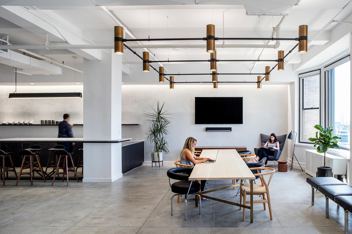 Open workspace featuring Ketra tunable spectrum lighting.