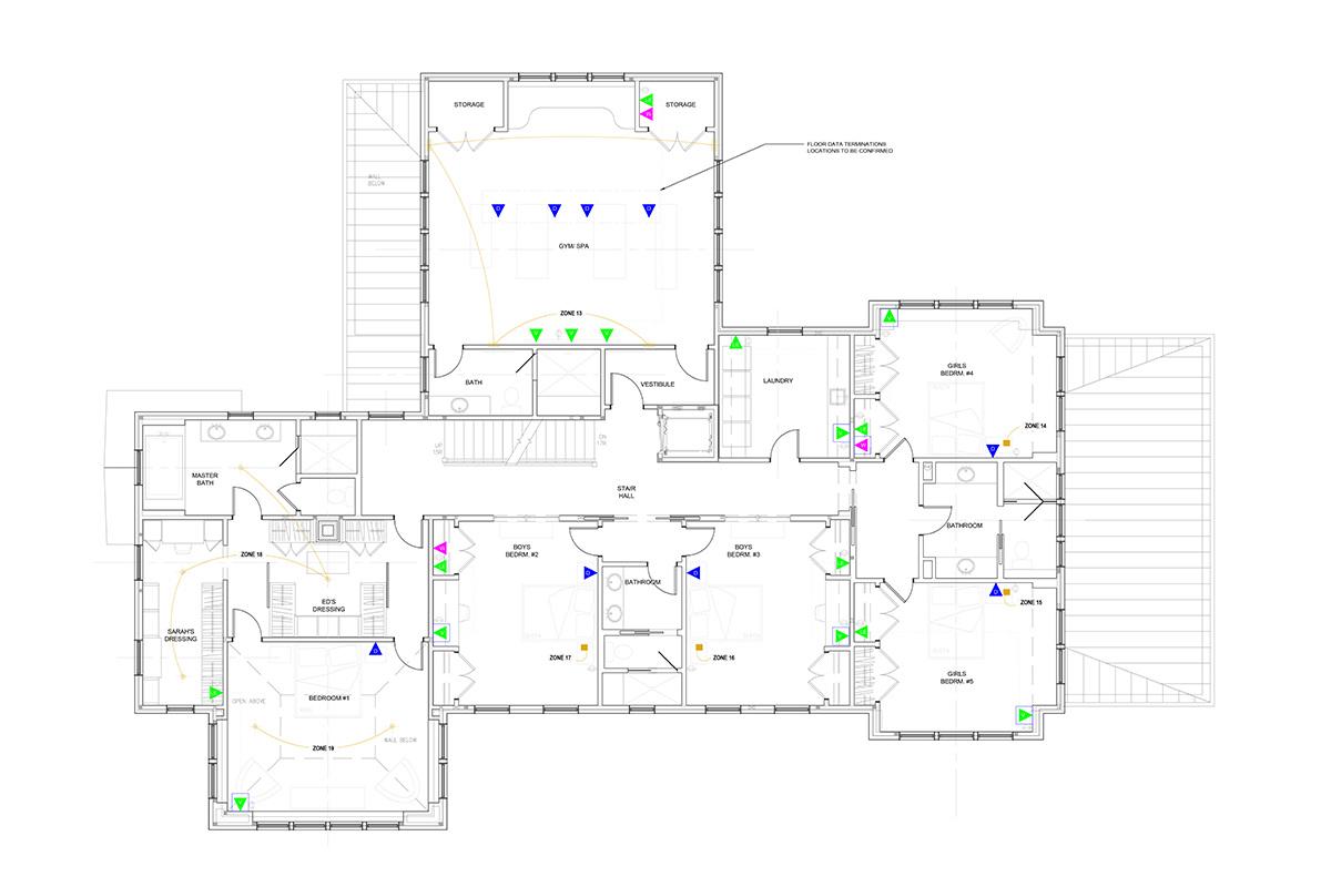A structured wiring plan shows all the wireless access points, iPad launchports and hard-wired ethernet connections in the home