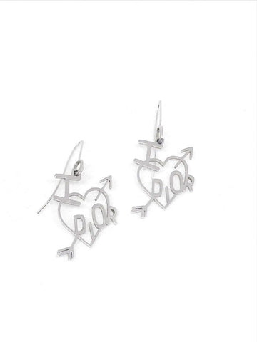 DIOR - LOVE SILVER DANGLE EARRINGS