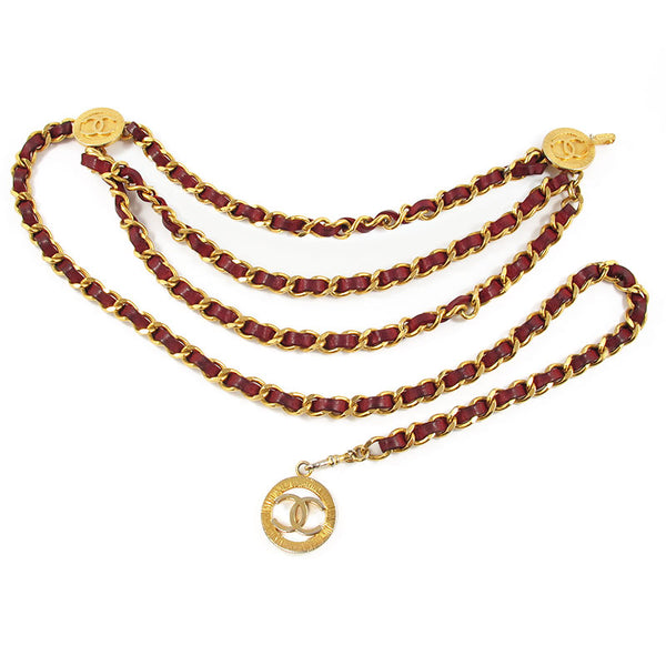 CHANEL - RED AND GOLD TRIPLE CHAIN BELT
