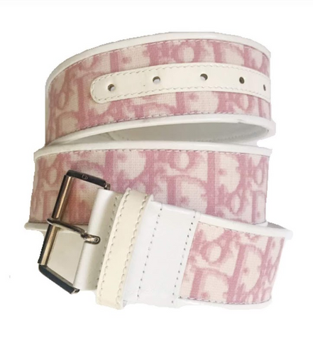 DIOR - PINK AND WHITE OBLIQUE LOGO BELT