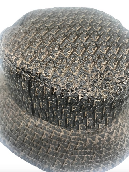DIOR - BROWN AND BLACK OBLIQUE BUCKET HAT