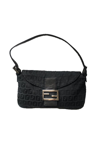 FENDI - DARK GREEN FF LOGO BAGUETTE BAG
