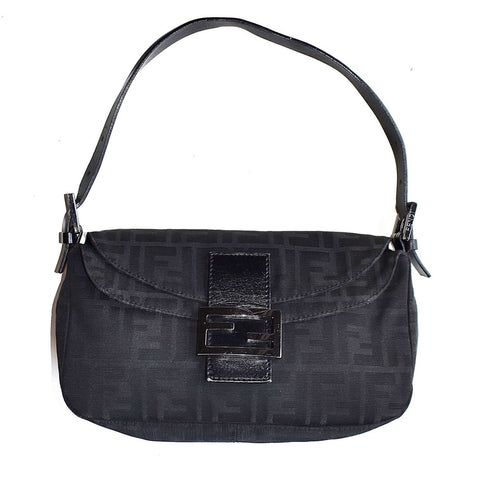 FENDI - BLACK FF LOGO BAGUETTE BAG