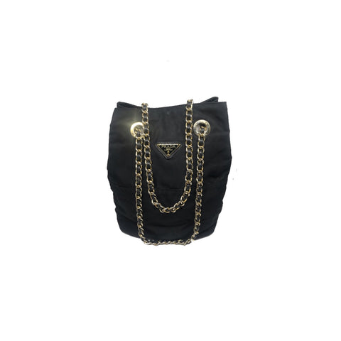 PRADA - TESSUTO GOLD CHAIN BUCKET BAG