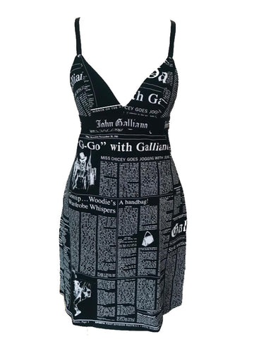 JOHN GALLIANO - GAZETTE PRINT BLACK SLIP DRESS