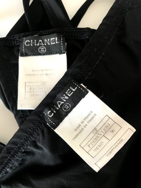 CHANEL - METAL LOGO CLOSURES TWO PIECE SWIMSUIT