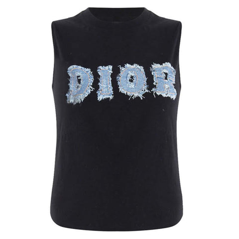 DIOR - SLEEVELESS DENIM LOGO PRINT TANK TOP