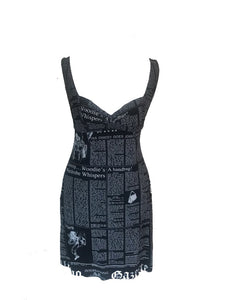 JOHN GALLIANO - BLACK GAZETTE PRINT SLIP DRESS