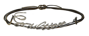 JEAN-PAUL GAULTIER - BROWN LEATHER & METAL CURSIVE SIGNATURE LOGO BELT