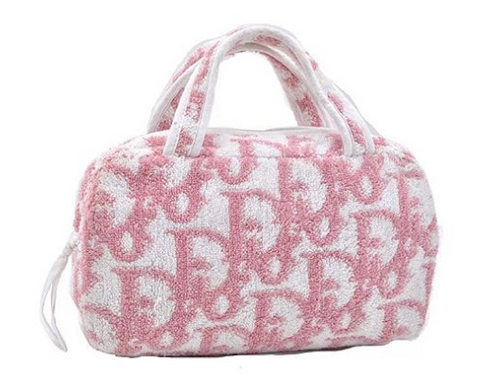 DIOR - PINK AND WHITE TERRY LOGO BOSTON BAG