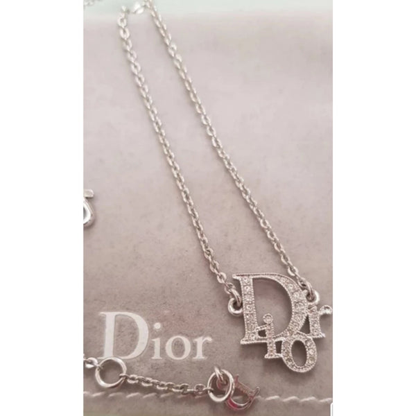 DIOR - WHITE RHINESTONES OBLIQUE LOGO NECKLACE