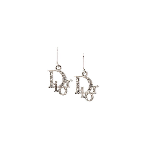 DIOR - OBLIQUE LOGO WHITE RHINESTONES EARRINGS