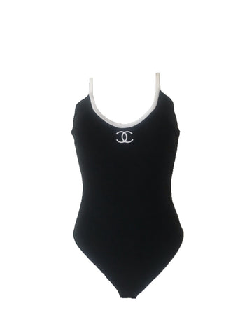 CHANEL - ICONIC BLACK AND WHITE LOGO BODYSUIT