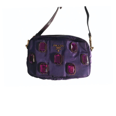 PRADA - PURPLE  RHINESTONES MINI CAMERA BAG