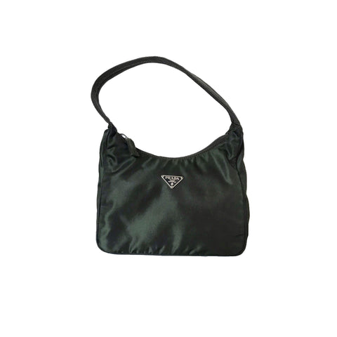 PRADA - DARK GREEN MINI TESSUTO HOBO BAG
