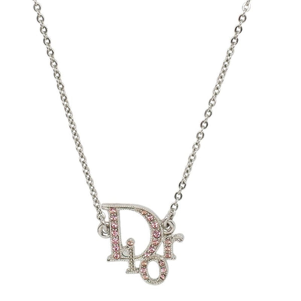 DIOR - PINK RHINESTONES OBLIQUE LOGO NECKLACE