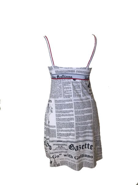 JOHN GALLIANO - GAZETTE PRINT WHITE SLIP DRESS