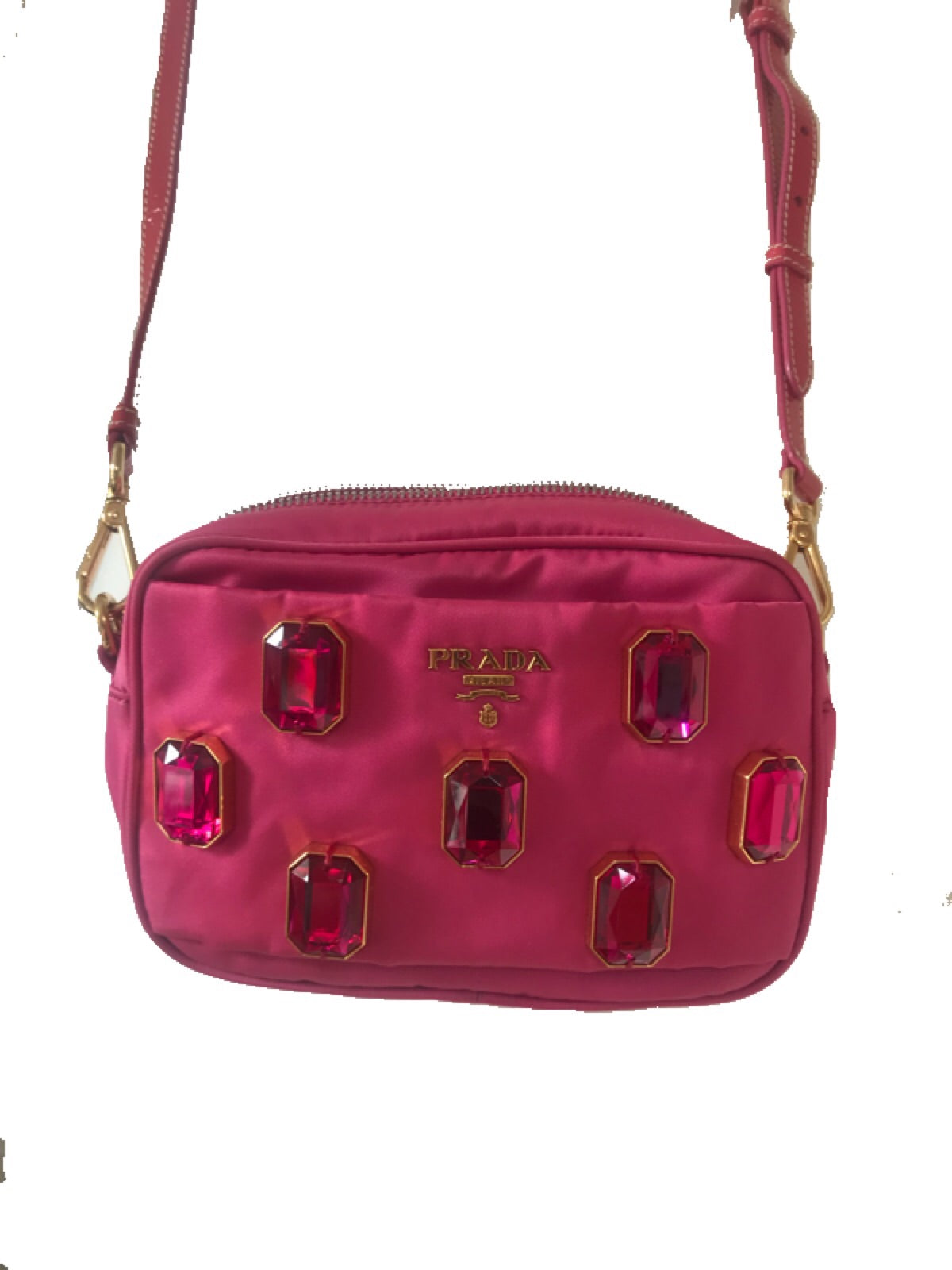 PRADA - PINK RHINESTONES MINI CAMERA BAG