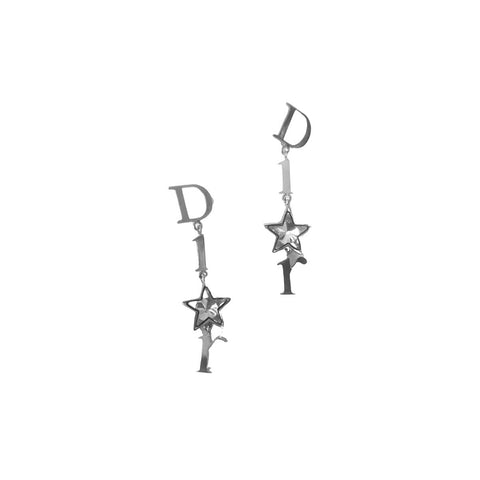 DIOR - DANGLE LOGO STAR EARRINGS