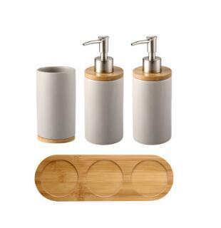 Uptown Vibez 4PCS 2 Bamboo Lux Bathroom Accessories Set