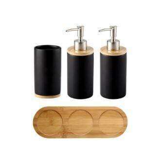 Uptown Vibez 4PCS 3 Bamboo Lux Bathroom Accessories Set