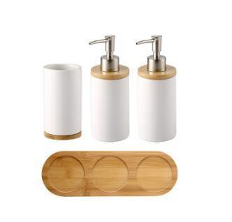 Uptown Vibez 4PCS Bamboo Lux Bathroom Accessories Set