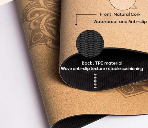 Uptown Vibez 70 in Yoga mat Fitness Natural Cork mats Pilates Sport Slimming Balance Training Gym with Position Line Non Slip Gymnastics Pad