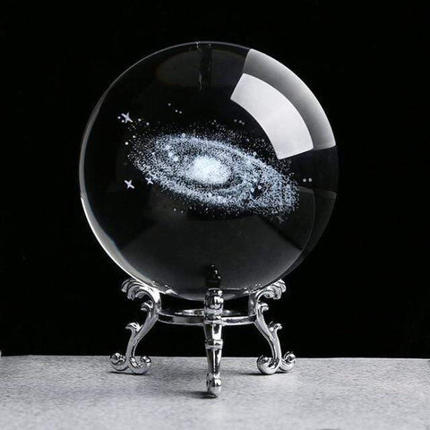 Uptown Vibez 8cm silver base1 Solar System Crystal Ball