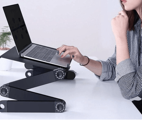 Uptown Vibez Adjustable Aluminum Laptop Desk Ergonomic Portable TV Bed Lapdesk Tray PC Table Stand Notebook Table Desk Stand With Mouse Pad