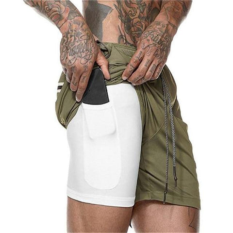 Uptown Vibez Army green / XXL 2 In 1 Men Athletic Shorts