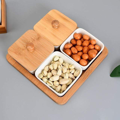 Uptown Vibez Bamboo Ceramic Serving Set