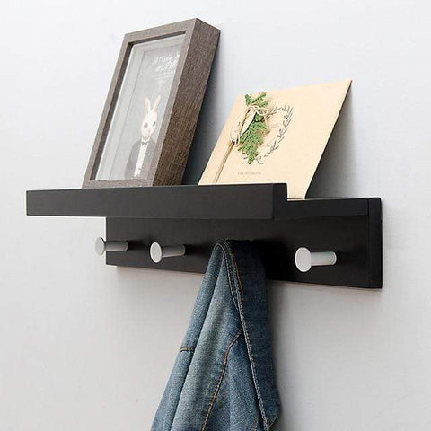 Uptown Vibez Black 4 Hooks Holz Wooden Shelf