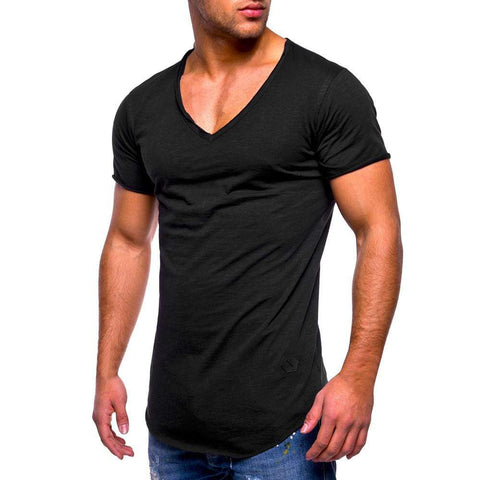 uptown vibez Black / M Men's Slim Fit Muscle V Neck
