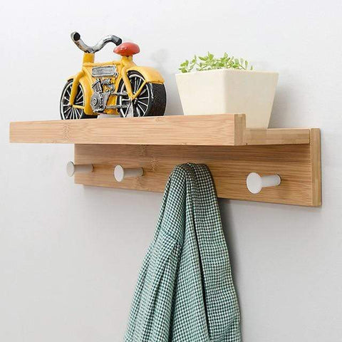Uptown Vibez Brown 4 Hooks Holz Wooden Shelf