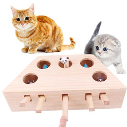 Uptown Vibez Cat Toy Alpinia Oxyphylla Puzzle Cat Plate Wood Whack-a-mole Cat Toy Set Solid Wood Ground Mouse With Pet Play