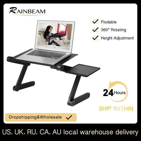 Uptown Vibez CHINA / black Adjustable Aluminum Laptop Desk Ergonomic Portable TV Bed Lapdesk Tray PC Table Stand Notebook Table Desk Stand With Mouse Pad