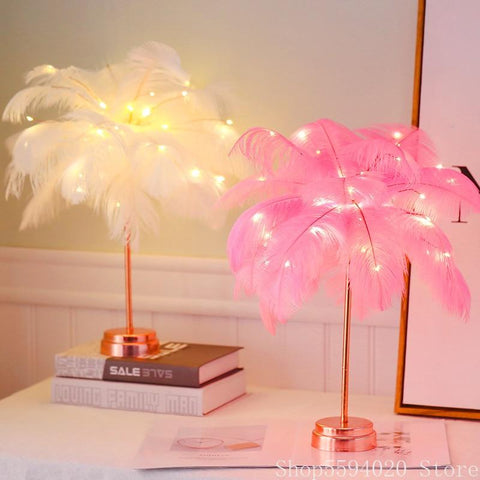 Uptown Vibez Feather Shade LED Desk Lamp